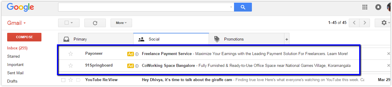 Adwords ads in gmail