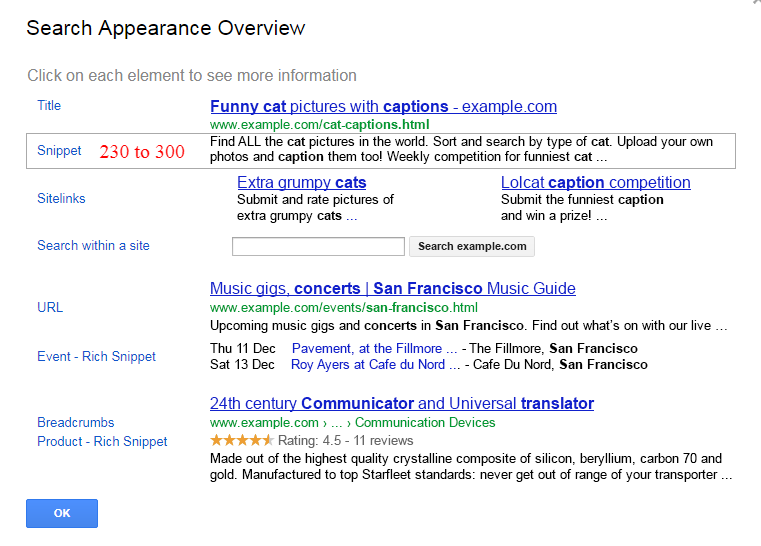 Google Snippets Update